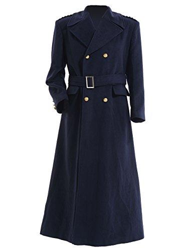 70 Tv Show Halloween Costume (Cosdaddy Men's Doctor Captain Dark Blue Trench Coat Cosplay Costume (L, Coat))
