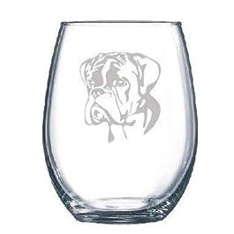 PotteLove Professionally Engraved Boxer Dog Glass – Dog Lover Gift – Wine Glass Stemmed or Stemless Custom Text, 11 oz