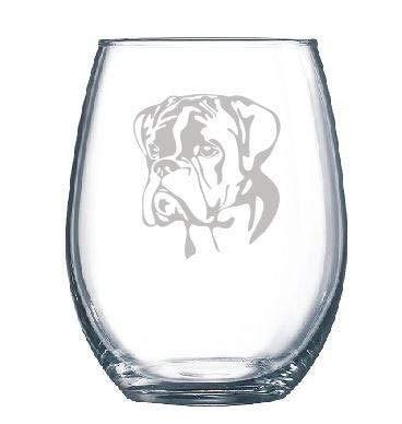 PotteLove Professionally Engraved Boxer Dog Glass - Dog Lover Gift - Wine Glass Stemmed or Stemless Custom Text, 11 oz |