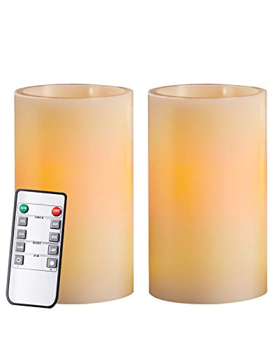 "Homemory 5"" Real Wax Flameless Flickering Candles Battery Operated LED Pillar Candles, with Remote Control & Convenient Timer for Wedding, Party, Festival (Pack of 2, Ivory)"