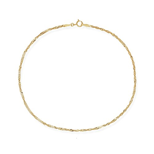 JewelryWeb 10k White or Yellow Gold 1.7mm Singapore Chain Anklet (yellow-gold) -