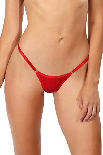 Red Brazilian String Bikini Underwear Cheeky Panty Women's Adjustable Panties