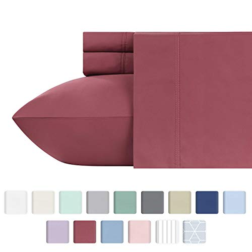 California Design Den 600 Thread Count 4pc King Deco Rose Red Sheet Set - 100% Cotton Deep Pocket Bedsheets for Bed - Long Staple, Deep Pocket, Shrink Resistant Fabric, Soft & Silky Sateen Weave