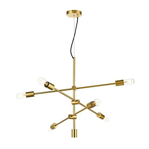 (Light Society 6-Light Element Chandelier in Brass with Exposed Bulbs, Mid Century Modern Retro Style Lighting (LS-C272-PBG))