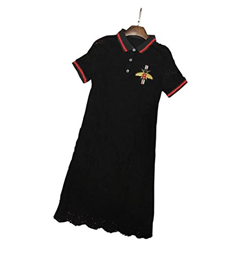 DuWei (ドゥウェイ) レディース テニスウェアク 刺繍 レース付き Tシャツ 半袖ゲームシャツ ワンピース スポーツウェア 運動着 ゴルフウェア 着痩せ 体型カバー可愛い ジャージ カジュアル