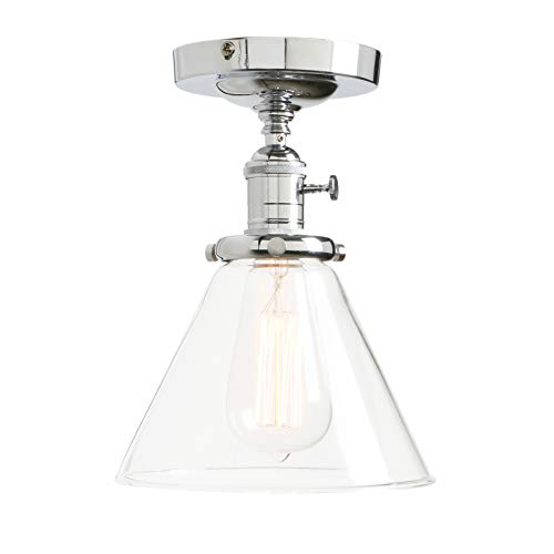 Permo Vintage Industrial Semi Flush Mount Ceiling Light Fixture Pendant Lighting with Funnel Flared Clear Glass Shade (Chrome)