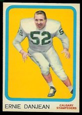 1963 Topps CFL (Football) Card# 12 Ernie Danjean of the Calgary Stampeders NrMtBtr Condition