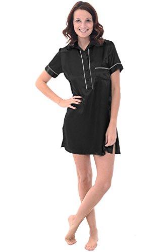 Alexander Del Rossa Womens Satin Nightgown, Boyfriend Style Short Sleeve Sleep Shirt