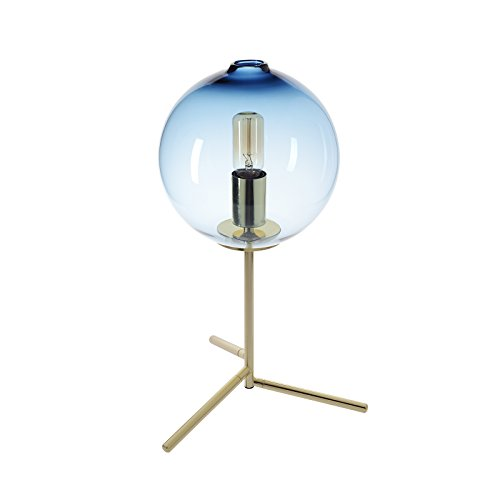 Uplight Table (CASAMOTION Table Lamp Handblown Glass Light Contemporary Decorative Uplight Bed Side Desk Accent Lamp, Blue)
