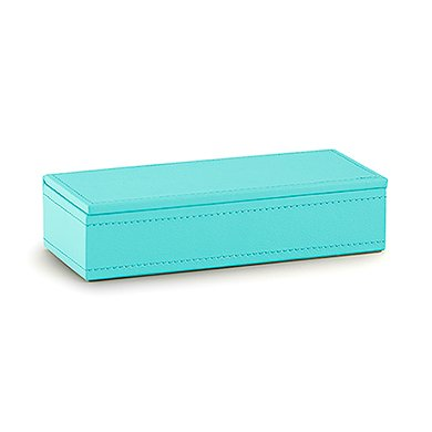 Wedding Star 4459-33 Vegan Leather Jewelry Box - Spa Blue with White