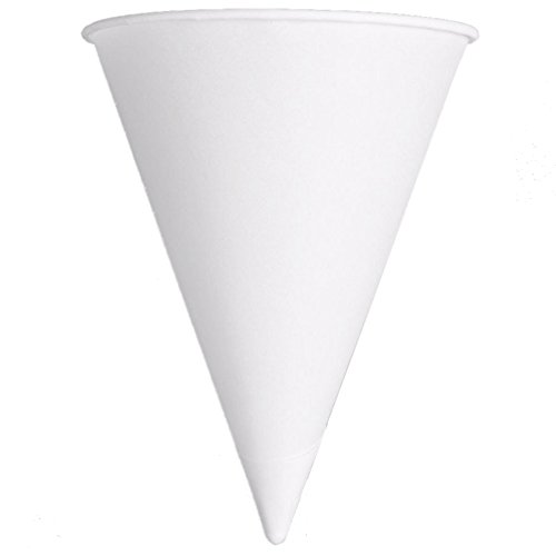 Cartons Ounce 4 (Solo Foodservice Cone Water Cups, Cold, Paper, 4 oz, White, 200/Bag, 25 Bags/Carton)