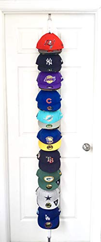 The Clip Hanger Hat Rack Holds 20 Hats on 1 Strap Any Size Any Style Any Shape Wall or Door (White) by Hat-Headz