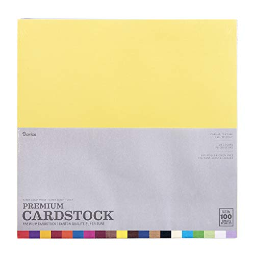 "Darice GX220035 Core'dinations Premium 65-lb Cardstock Value Pack – 12x12"" Sheets of Premium, Acid Free Cardstock with a Solid-Dyed Core, 100-Pack Includes Five Sheets of 20 Colors ()"