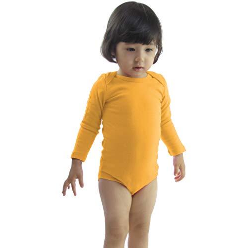 COUVER Unisex Baby Infant Toddler Long Sleeve Lap Shoulder Solid Color Bodysuit Onesie,Golden Yellow,12 Months