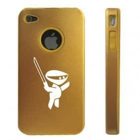 Apple iPhone 4 4S Gold D1212 Aluminum & Silicone Case Cover Ninja with Sword by ruishername