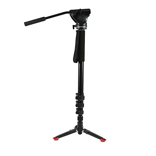 SHIHONG Camera Monopod,Professional Camera Monopod,Video Monopod for DSLR/SLR Mirrorless Cameras with Removable Tripod Base 3-way Fluid Pan-Head by SHIHONG