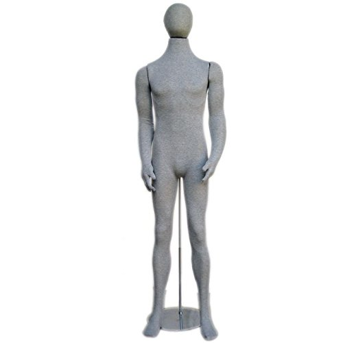 [Soft Flexible Bendable Male Mannequin with Egg Head - grey] (Skeleton Costume Pose)