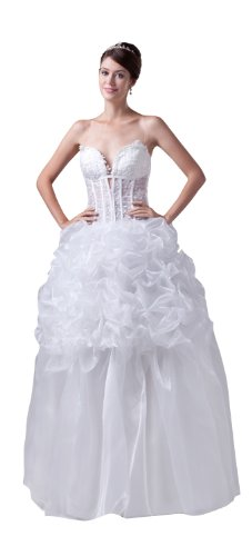 ImPrincess ip4-5275-i8 Wedding Dress Sexy Style Sweatheart Strapless Tie Delicate Beading Embroidery Long Sweep Ball gown Ivory (Dress Taffeta Tie Strapless)