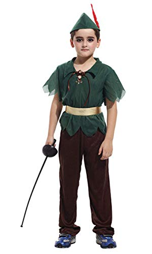 stylesilove Kid Boys Halloween Costume Cosplay Outfit Themed Birthdays Party (Forest Peter Pan, L/7-9 Years)