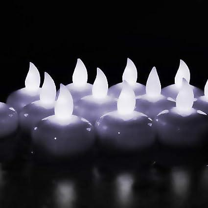 Novelty Place [Flota en el Agua] Velitas Sin Llama, Velas Pequeñas LED Flotantes con Baterías - Blanco Elegante para Bodas, Centro de Mesa y SPA (Paquete de 12)