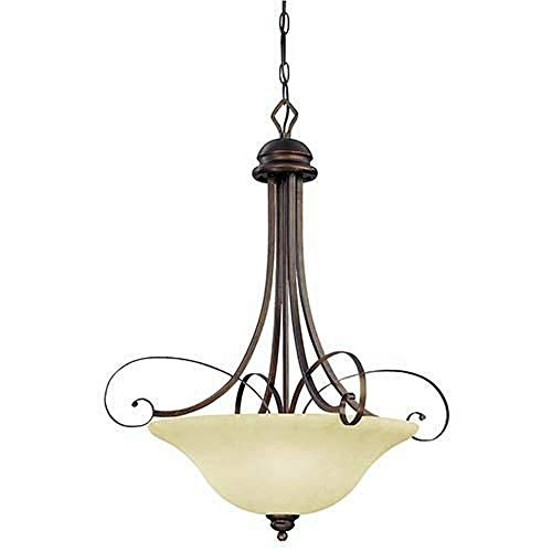 (Millennium Lighting 1054-RBZ Chateau - Four Light Pendant, Rubbed Bronze Finish with Turinian Scavo Glass)