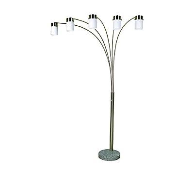Ore International Brushed Steel Arch Floor Lamp