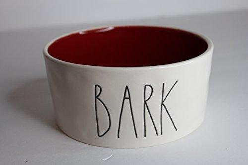 - Rae Dunn Magenta Ceramic Large Pet Food Bowl Cat Dog Dish Bark - Cream/Red