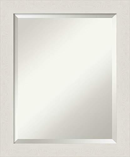 Plank Narrow - Amanti Art Vanity Bathroom Rustic Plank White Narrow Frame   Wall Mounted Mirror, Glass Size 16x20,