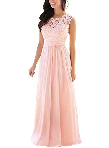 0ab42631390 XJLY Elegant A Line Lace Chiffon Bridesmaid Dresses Long Wedding Party Dress