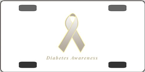 Diabetes Awareness Ribbon Vanity License Plate