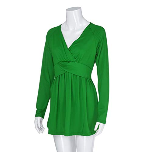 Tunic Blouse Plain T Sleeve Sizes 2018 Hem Autumn Slim Neck 22 Green V Women's Shirt Viahwyt Plus UK Pleated New Long Fit 8 Wrap Tops OqWnq70a