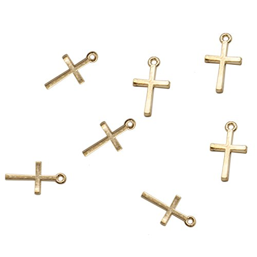- TOPMO 200pcs Gold Plated Small Cross Beads DIY Charms Pendants Pendant Beads Charms for Art Craft Jewelry Making