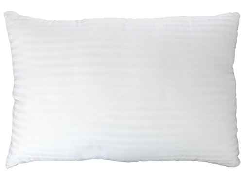 Price comparison product image Gel Fiber Pillow - Down Alternative Pillows with Cotton Cover - Ultra Plush with Hypoallergenic .9 Micro Denier Fill (Queen Size, Soft) Crafted in The USA (Dobby Stripe Cotton Cover)