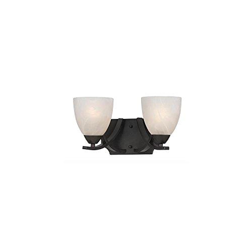 Lumenno Lighting 8002-00-02 Vanity with White Swirl Alabaster Glass Shades, Bronze - Swirl Glass Lighting Bath