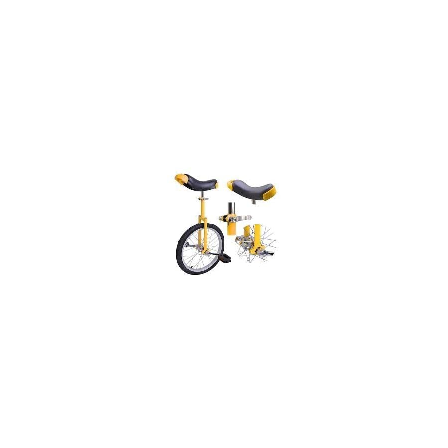 """18"""" Inches Aluminum Tire Unicycle Yellow Frame Guard Rails w/ Comfortable Release Saddle Seat for Mountain Bike Novice Athlete Professional Sports Single Wheel Pedal Riding Uni Cycle Cycling"""
