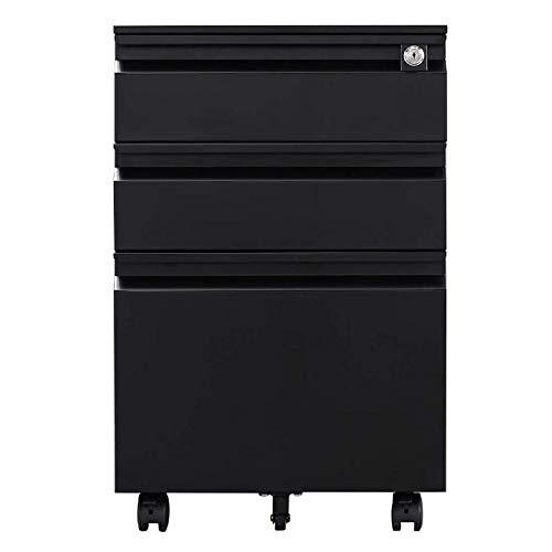 GREATMEET Metal 3 Drawer Mobile Filing Cabinet Legal/Letter Size Storage with Wheel Disassembled (Black) (3 Metal Storage Drawer)