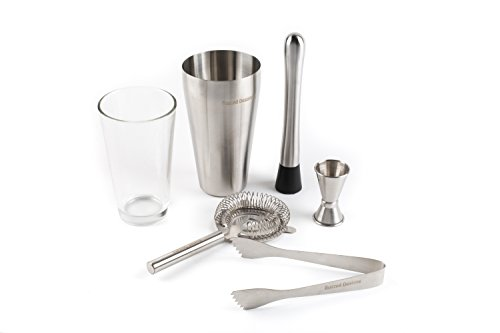 Boston Mixologist Cocktail Set - Six Pieces: Shaker+Glass, Muddler, Double Jigger, Ice Tongs, and Strainer from Buzzed Designs … (Boston Glass Shaker)