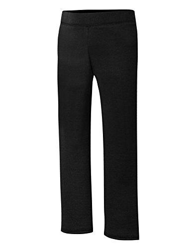 Hanes Big Girls' Comfortsoft Ecosmart Open Bottom Fleece Sweatpant, Black, X Small