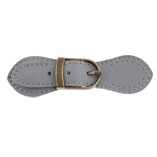 Prettyia Sew on Real Leather Tab Buckles Closure Set Bag Fastener DIY Supplies - Gray, as described (Buckle Tab)