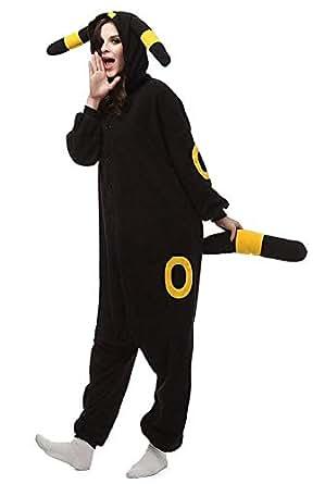 Casa Onesie Pijamas Kigurumi Adultos con Capucha de Franela Ropa de Dormir de Animales permitidos Navidad Cosplay Mono (Small, Amarillo Umbreon)