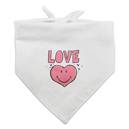 GRAPHICS & MORE Love Pink Heart Shaped Smiley Face Dog Pet Bandana - White