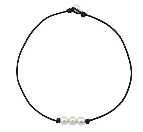 (Weilim Freshwater Pearl Leather Rope 3 Bead Necklace for Women Necklace Handmade 14
