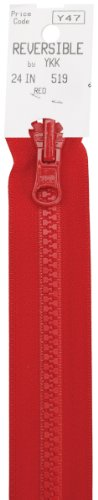 American & Efird 15 24-519 Vislon Reversible Separating Zipper, 24-Inch, - Zipper Red