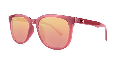 - Knockaround Paso Robles Unisex Sunglasses With UV400 Protection, Glossy Red Frames/Rose Gold Reflective Lenses