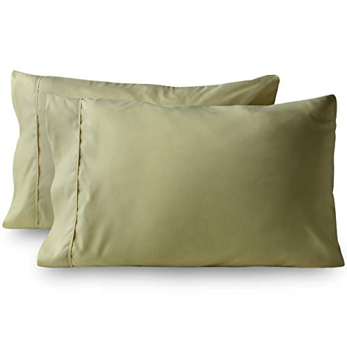 Bare Home Premium 1800 Ultra-Soft Microfiber Pillowcase Set - Double Brushed - Hypoallergenic - Wrinkle Resistant (Standard Pillowcase Set of 2, Sage)