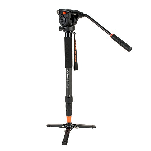 COMAN KX3535 Pro Video Monopod Kit Carbon Fiber 66 inch Twist Lock 4-Section Telescoping Leg and Q5 Fluid Drag Head with 3-Foot Locking Support Stand for DSLR Camcorder DV