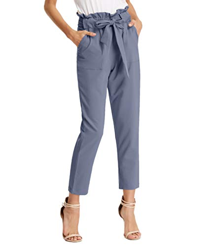 - GRACE KARIN Women's Slim Straight Leg Stretch Casual Pants with Pockets S Gray Blue