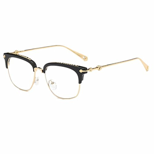 Shiratori Classic Vintage Retro Half Frame Horn Rimmed Clubmaster Optics 50mm Clear Lens Glasses -