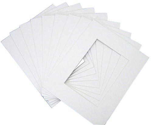 Pack of 10 16x20 WHITE Picture Mats with White Core Bevel Cut for 11x14 Pictures by Golden State Art