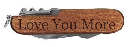 (Best Boyfriend Gifts Love You More Laser Engraved Dark Wood 6 Function Multitool Pocket Knife)